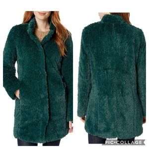 NWOT Kenneth Cole Emerald Green Faux Fur Coat